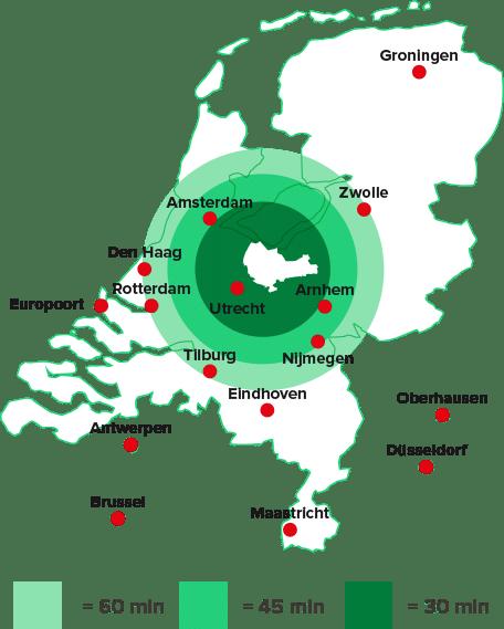 regio Amersfoort centraal in Nederland